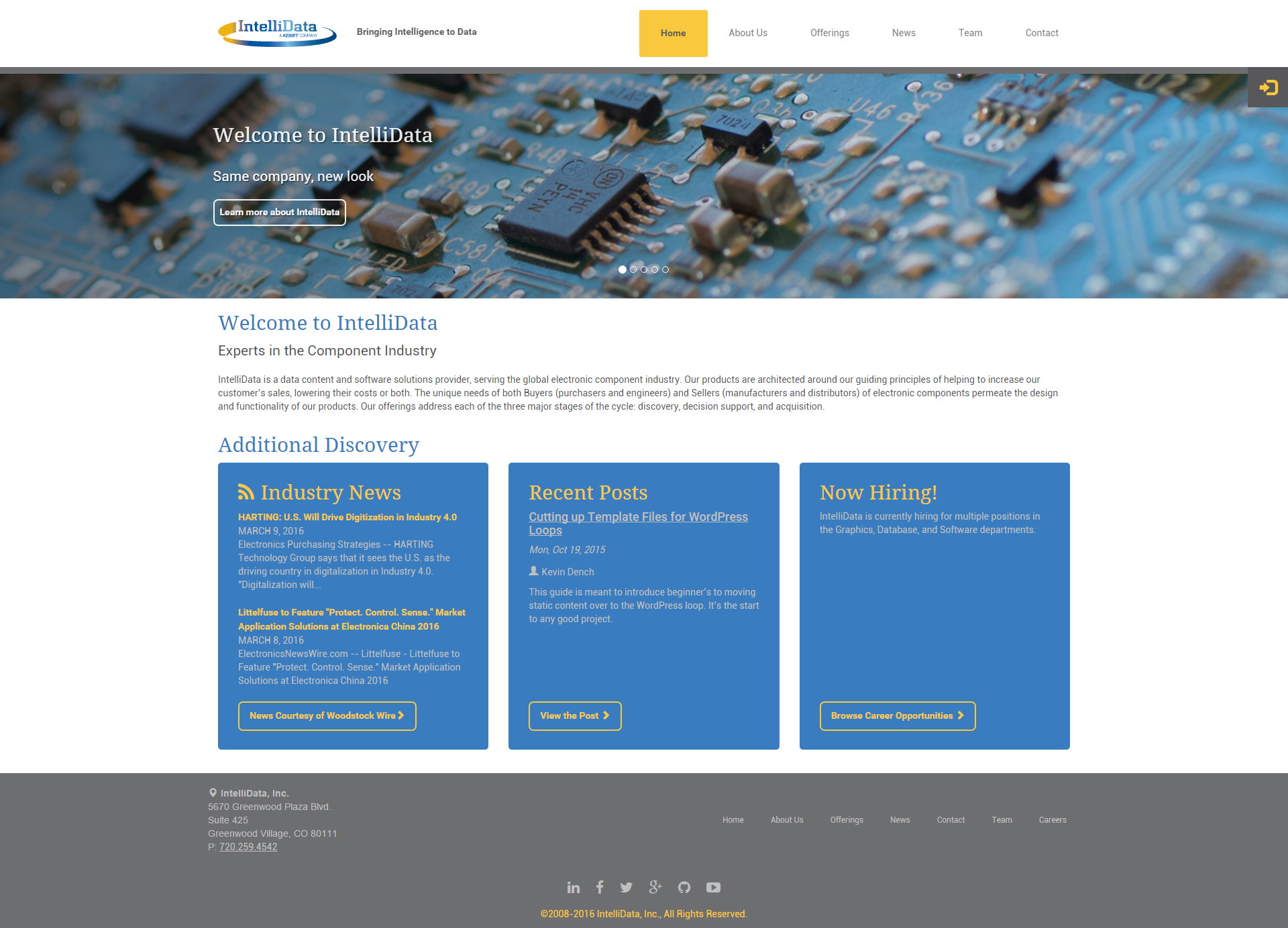 This is the landing page of IntelliData.net