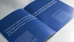 The blue booklet's spread, as well as full bleed.