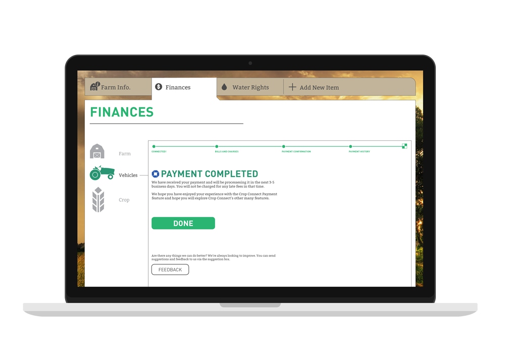 This is the desktop version of the apps, there is an option where the user is able to pay their bills online, this is the completion of that process