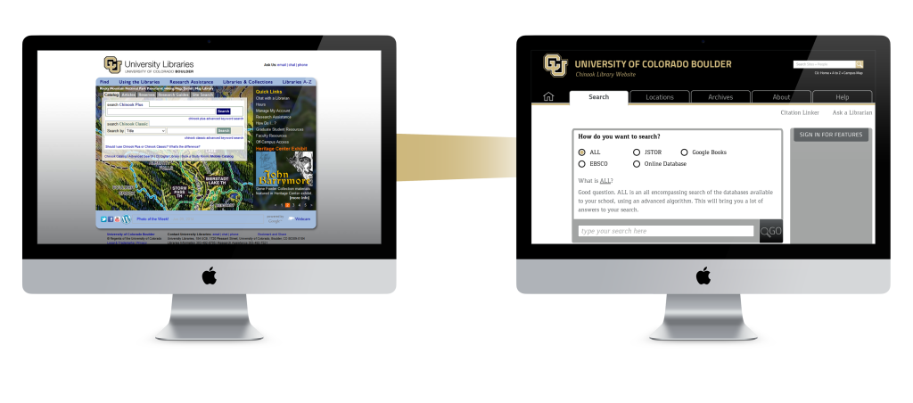 Comparison of the old home page verses the new one.