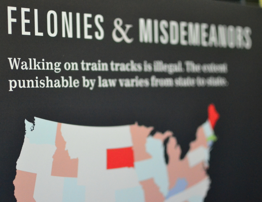 This is a chart of the legality of walking on the train tracks in different US States